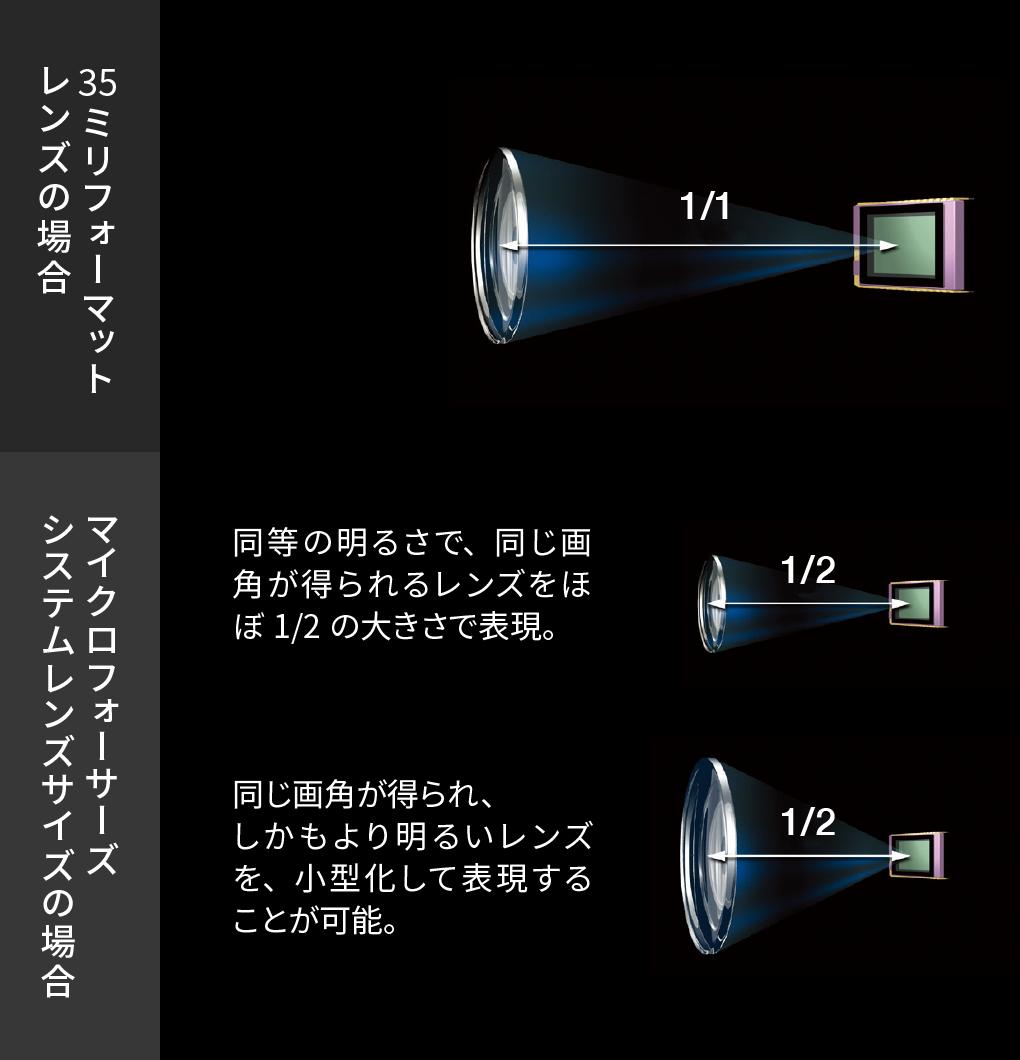 レンズサイズの比較(模式図)